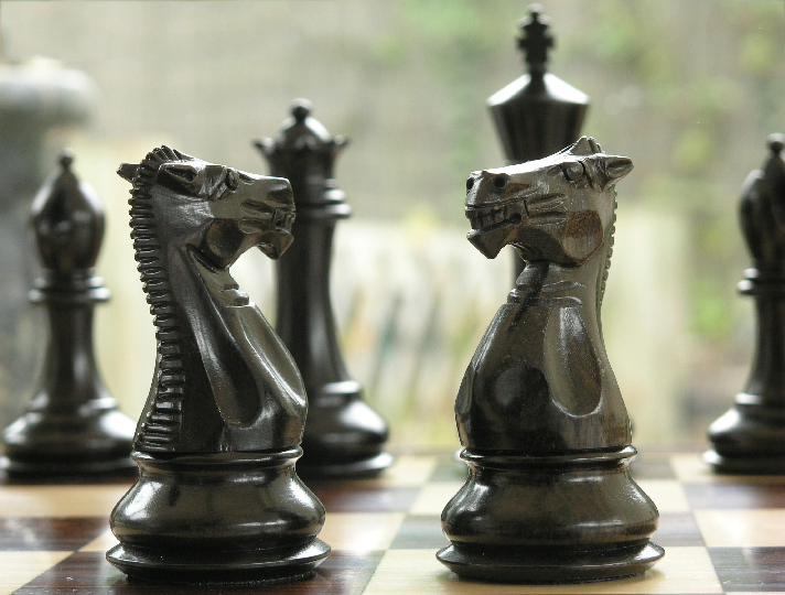 Margaret Anne Knight 4 inch King Triple Weight Ebony Chess Set