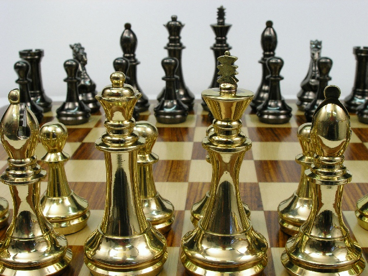 King John Very Heavy Brass Staunton Chess Set 0 1278 426100