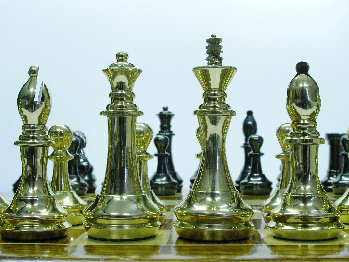 King John Very Heavy Brass Staunton Chess Set