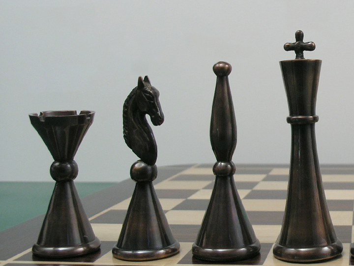 Steel Chess Set the sebastian in heavy steel and copper chess set - (0)1278 426100