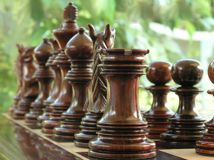 The Ashia in Bud Rosewood Triple Weight Chess Pieces