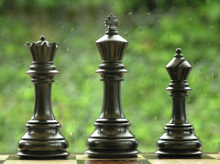 The Original King Charles in Ebony Triple Weighted Chess Pieces