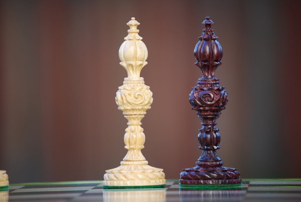 The Lotus Ruby Chess Pieces in Bud Rosewood