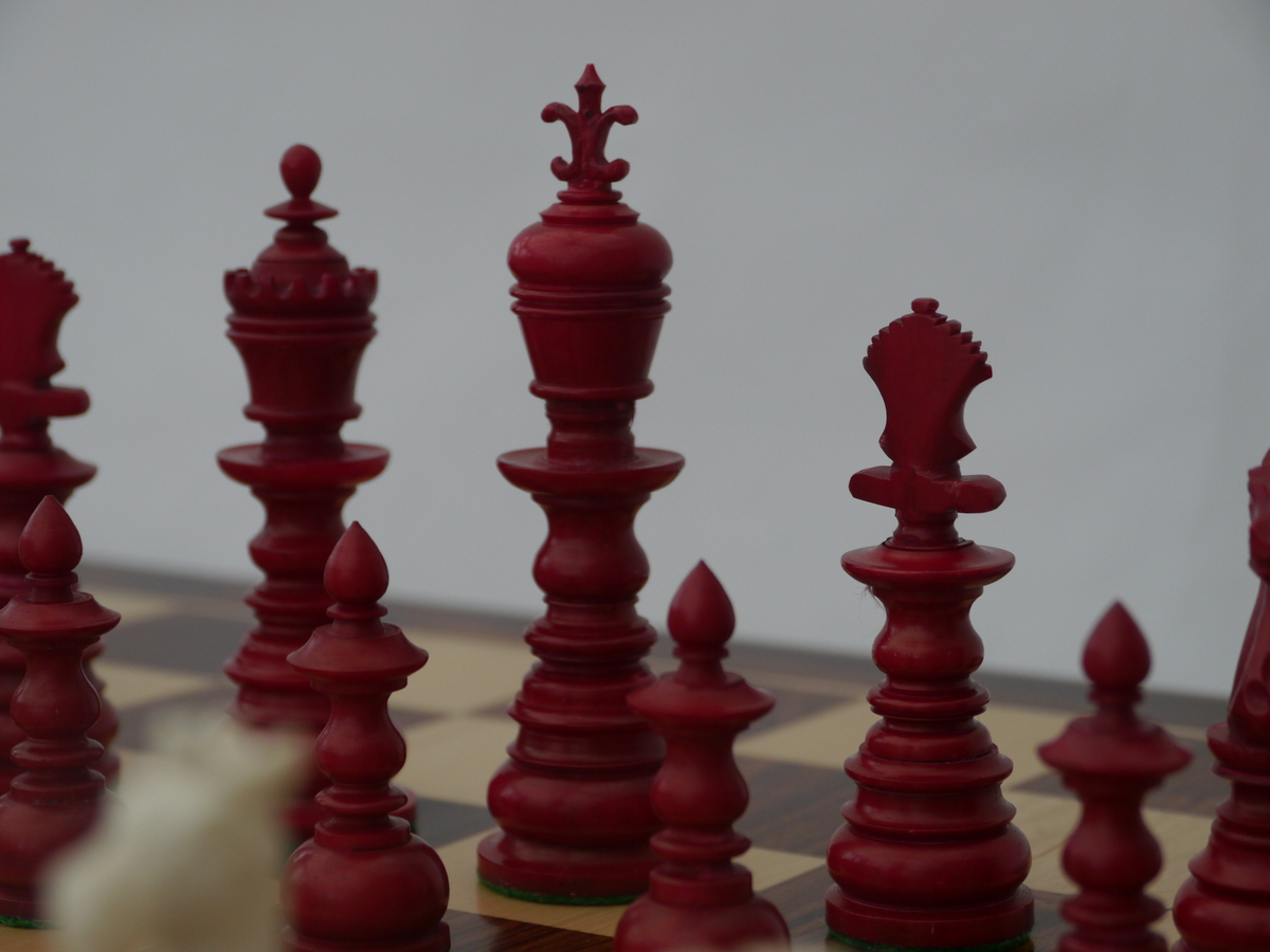 The Theodore Red and White Bone Chess Set - Limited Edition - Five Only