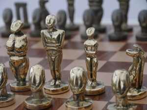 The Aegean Chess Set in Heavy Brass - Modern Art Chess