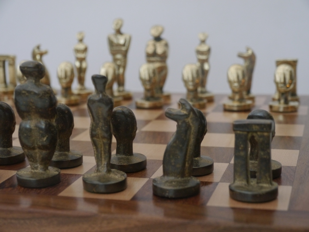 The Aegean Chess Set In Heavy Brass Modern Art Chess