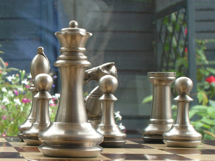 King John Very Heavy Copper and Stainless Steel Chess Pieces