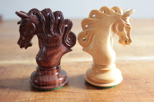 The Mayfield Triple Weighted Chess Pieces in Cocobolo
