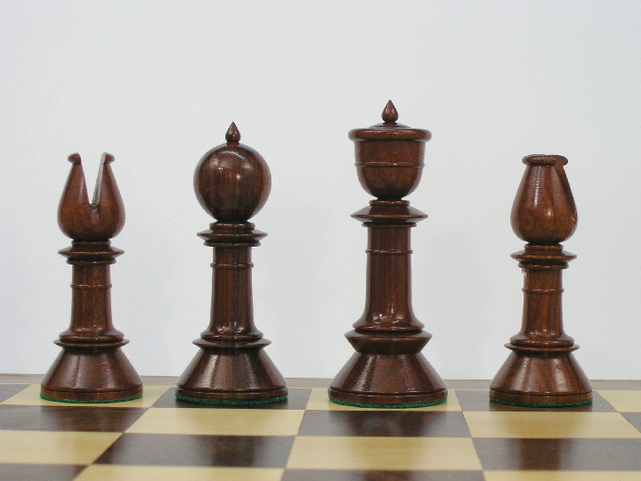 Reproduction Antique Triple Weighted Chess Set - Bud Rosewood Chess Pieces