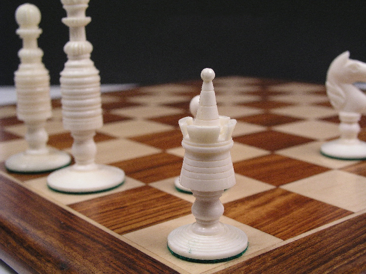 Reproduction Antique Camel Bone John Calvert Chess Set