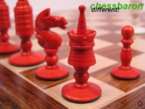 Reproduction Antique - Red White Camel Bone John Calvert Chess Set