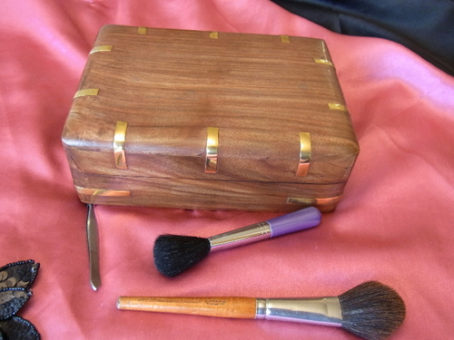 Light Walnut Grained Jewellery Box with Velvet Interior